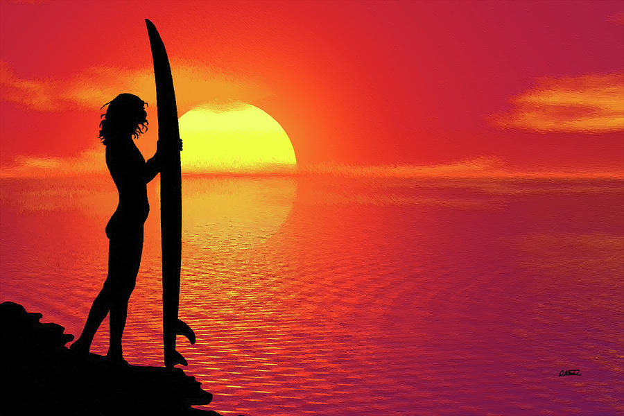 Surfer Girl in Sihouette at Sunset - DWP1298850 by Dean Wittle