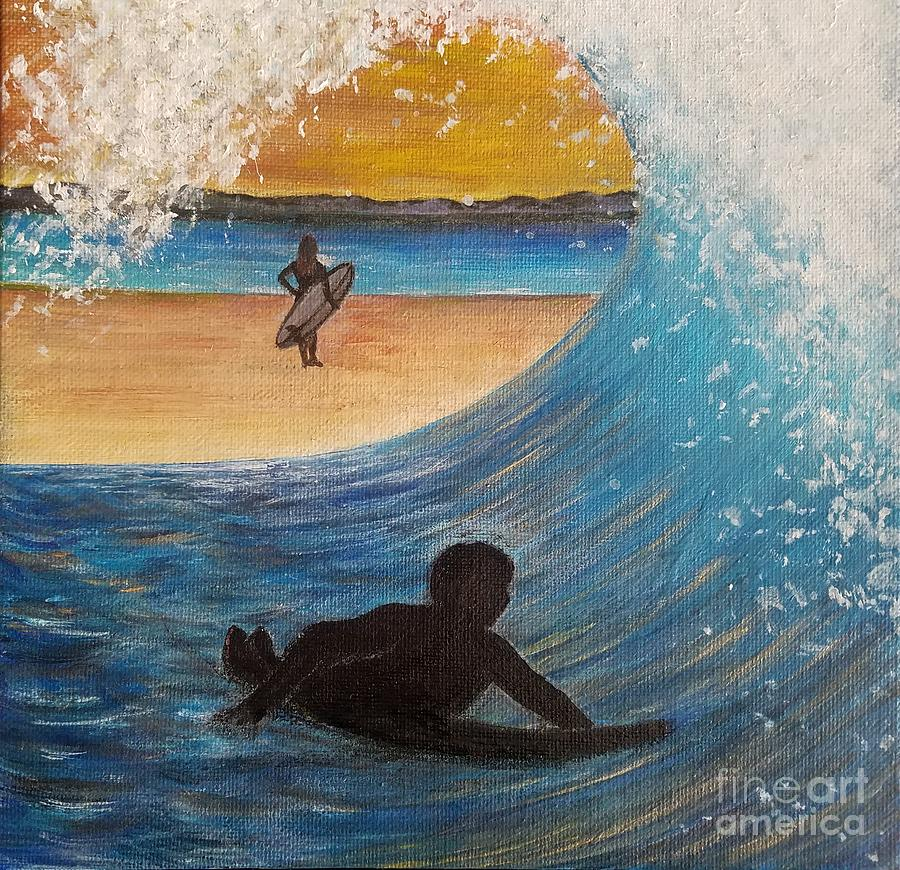 Woman Mixed Media - Surfers by Amy Lee Coy