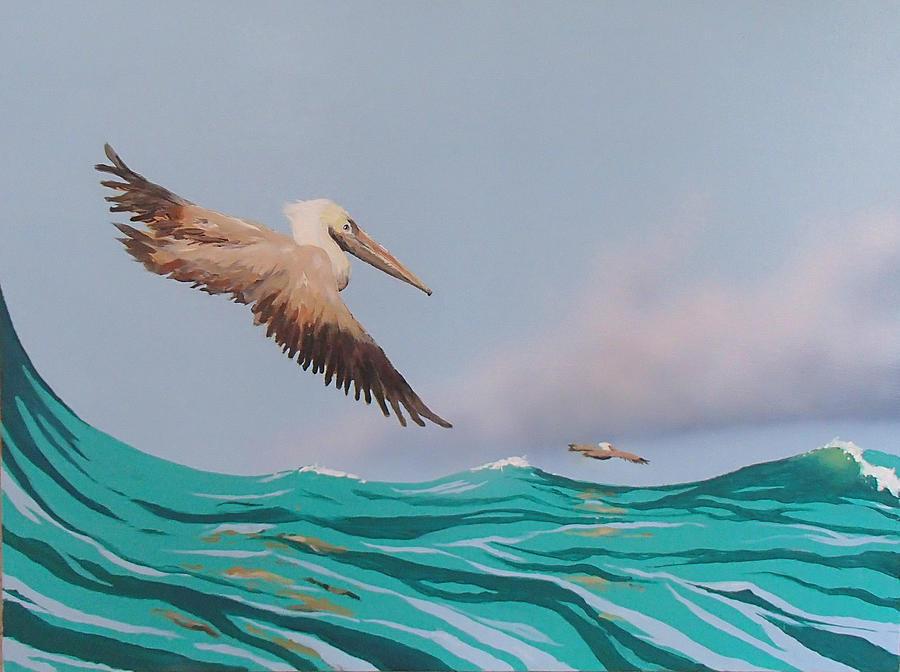 Pelicans Painting - Surfing by Philip Fleischer