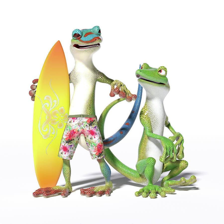 Gecko Digital Art - Surfs Up Geckos by Betsy Knapp