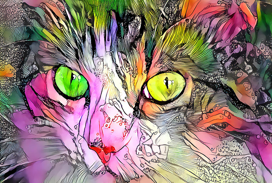 Surreal Cat Wild Eyes by Don Northup