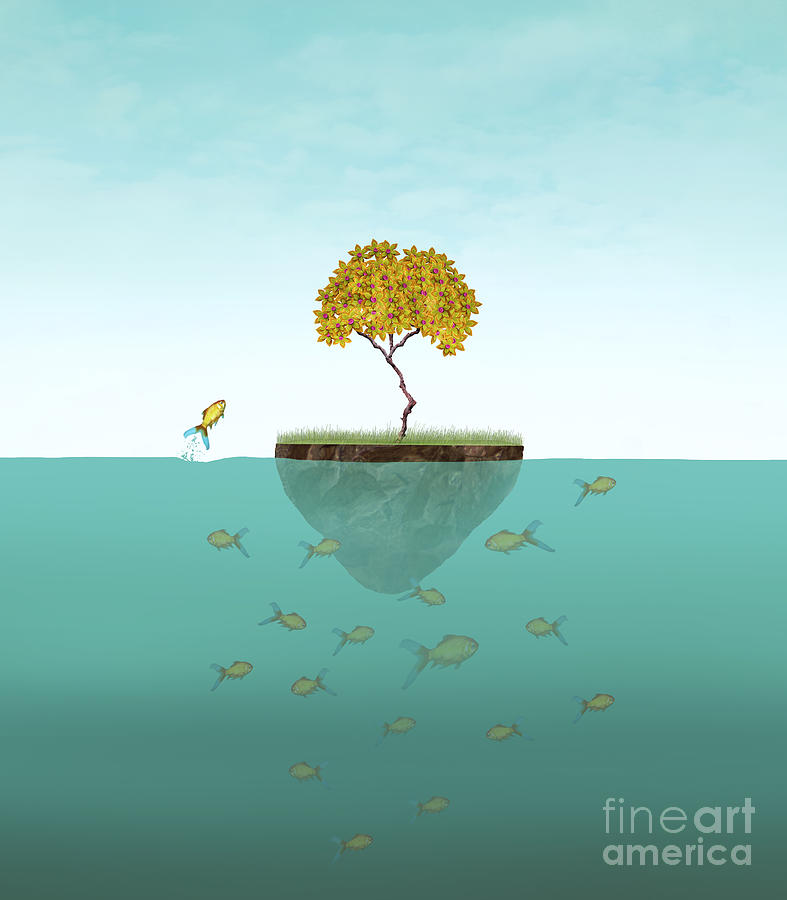 Small Digital Art - Surreal Illustration Of A Little Island by Valentina Photos