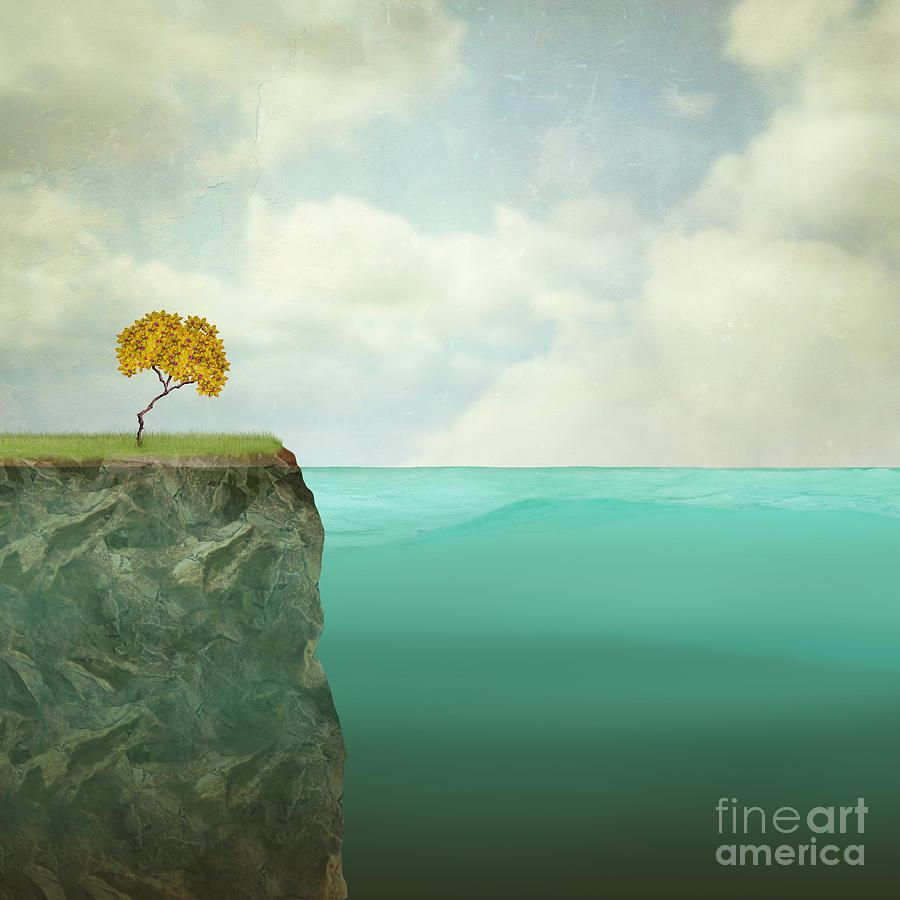 Deep Digital Art - Surreal Illustration Of A Small Tree by Valentina Photos