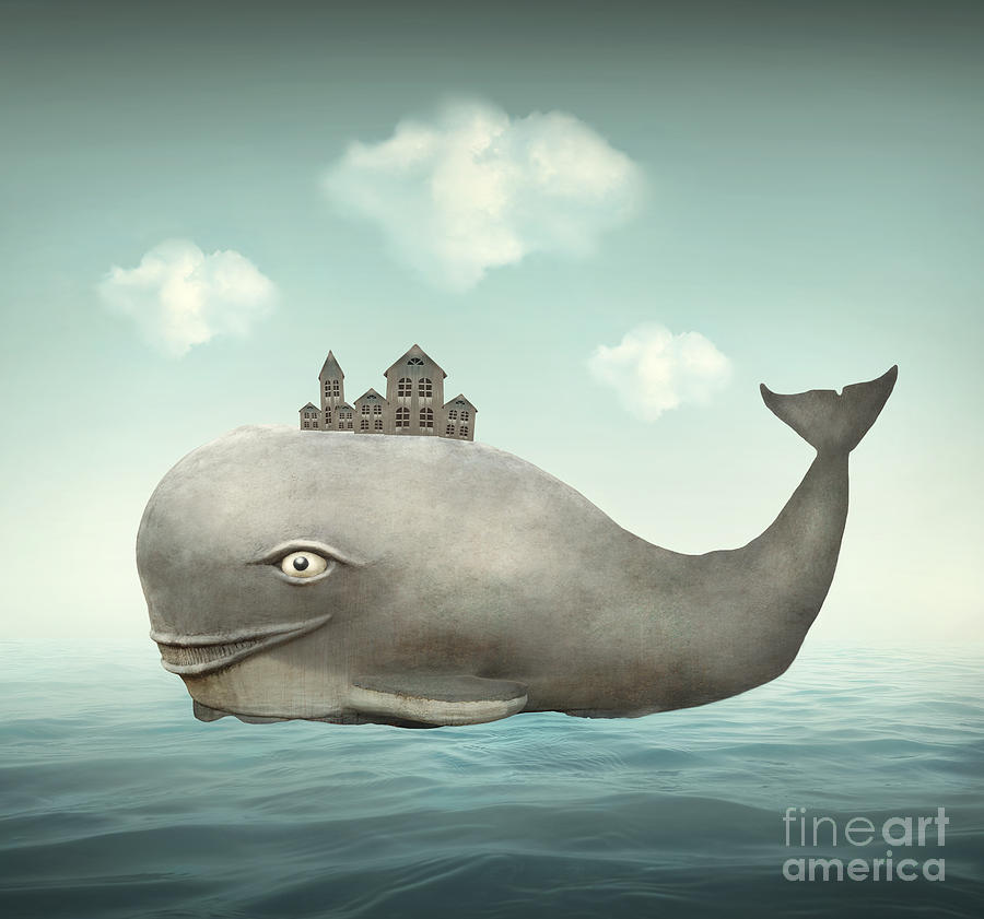 Big Digital Art - Surreal Illustration Of A Whale by Valentina Photos