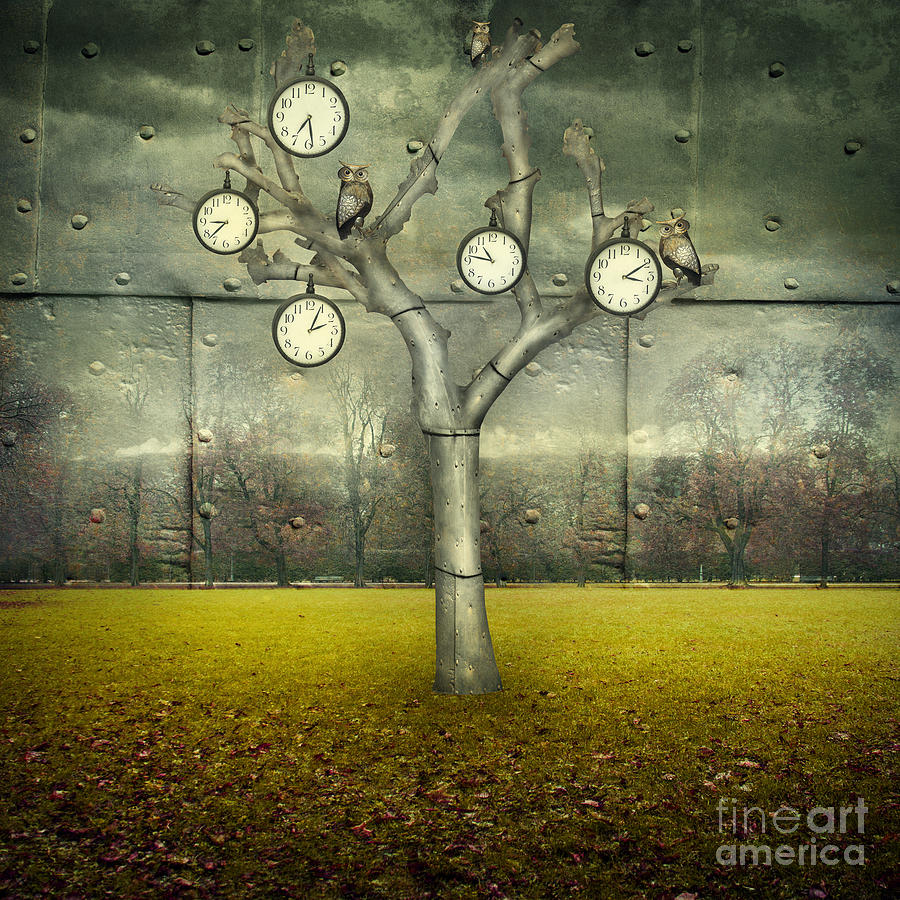 Small Digital Art - Surreal Illustration Of Many Clock And by Valentina Photos