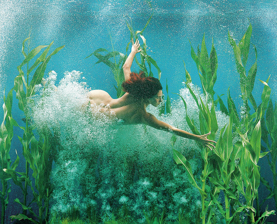 Surreal Mermaid Girl Underwater Photograph by Patrizia Savarese