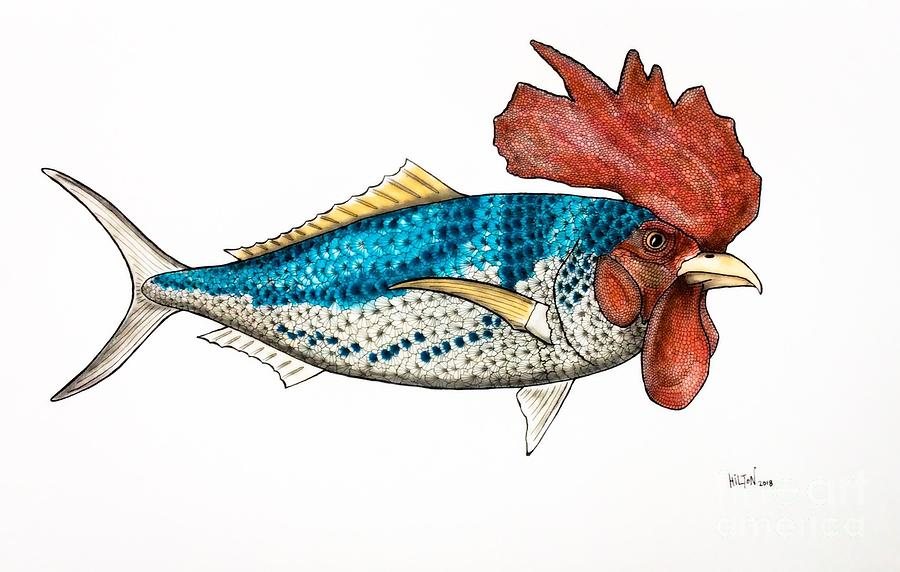 Surrealist Rooster Fish Pastel by Graham Wallwork