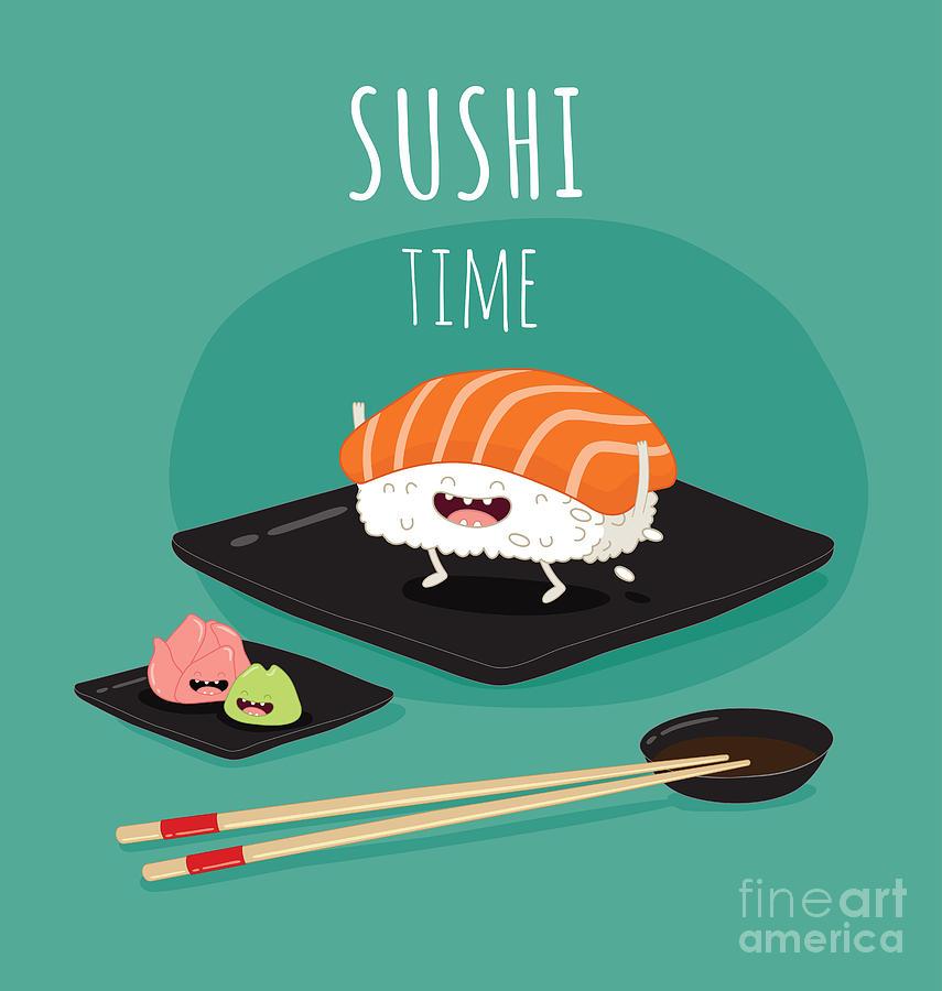 Symbol Digital Art - Sushi Time Poster  Funny Sushi by Serbinka