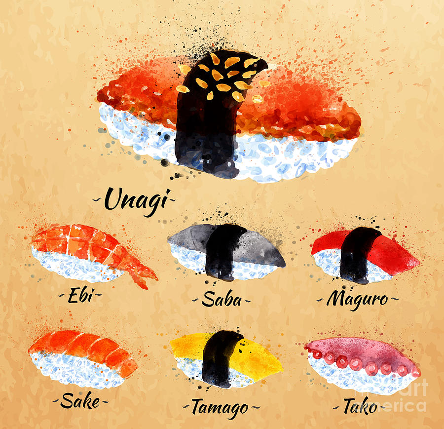 Lunch Digital Art - Sushi Watercolor Set Hand Drawn With by Anna42f