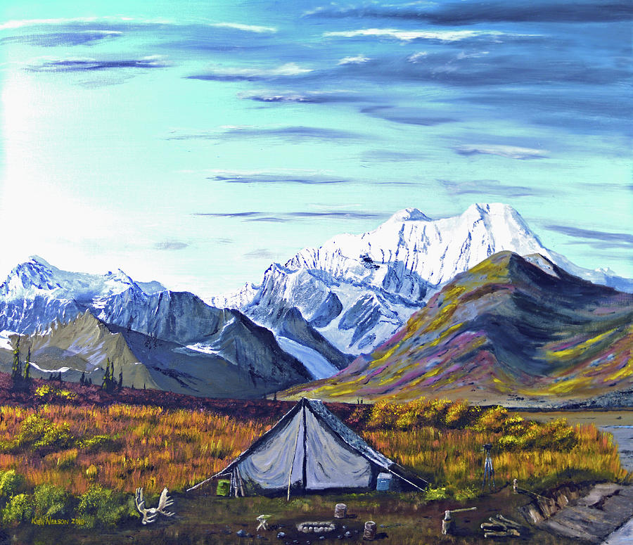 Alaska Painting - Susitna River Camp by Kenneth Nelson