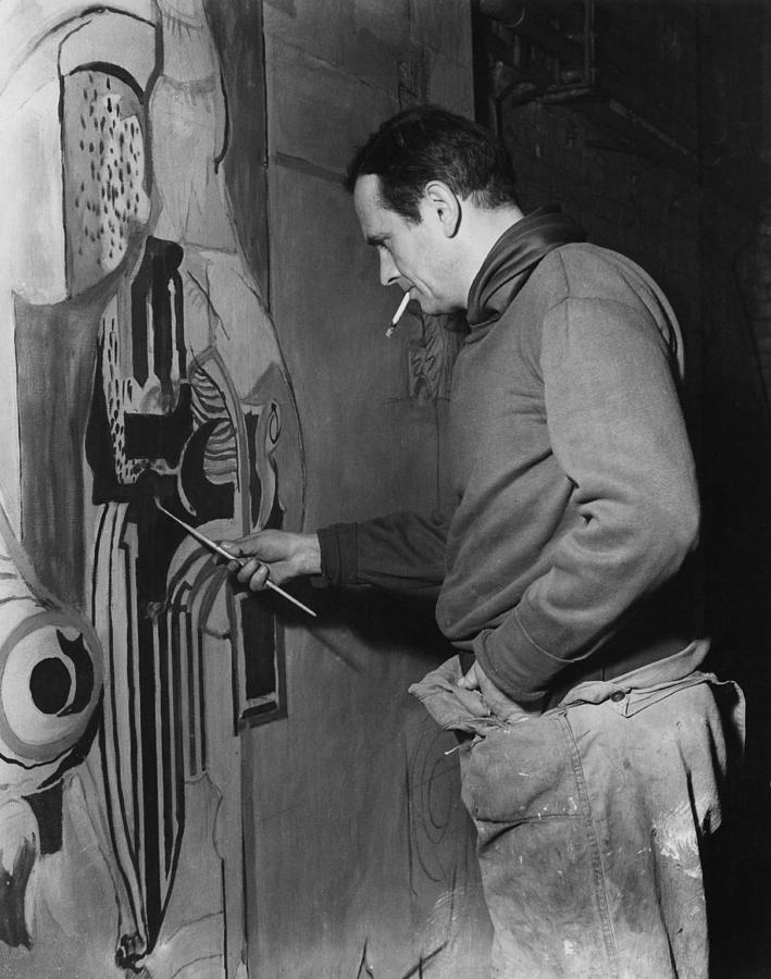 Sutherland Works On Mural Photograph by Fisher