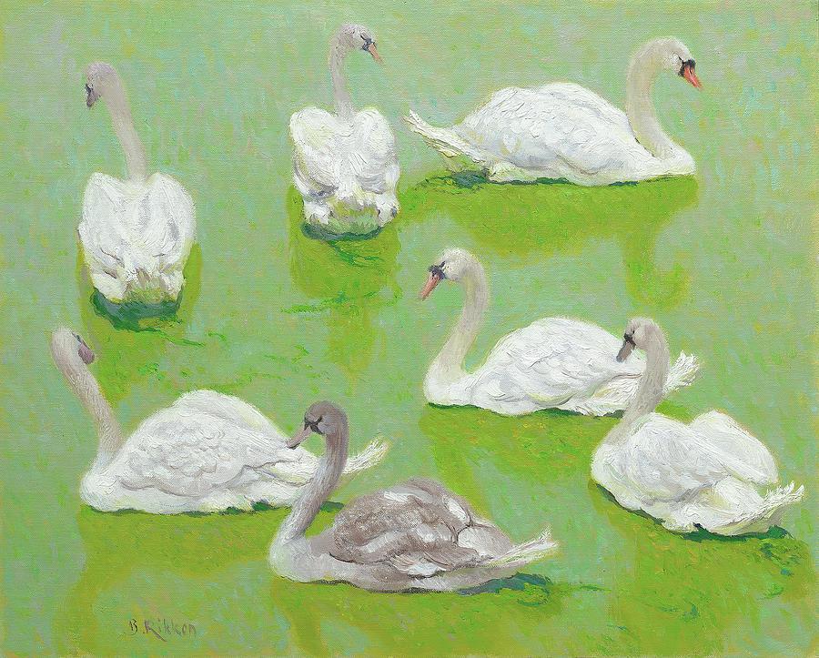 Swans Painting - Swans In Duckweed by Ben Rikken