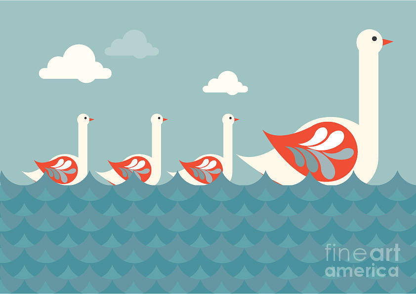 Sky Digital Art - Swans Vectorillustration by Lyeyee