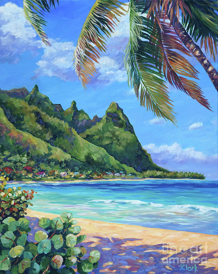 Kauai Painting - Swaying Palm On Makua Beach by John Clark