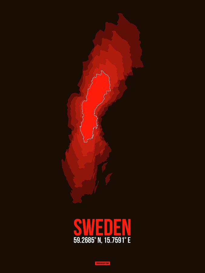 Sweden Photograph - Sweden Radiant Map 1 by Naxart Studio