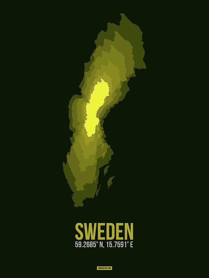 Sweden Digital Art - Sweden Radiant Map IIi by Naxart Studio