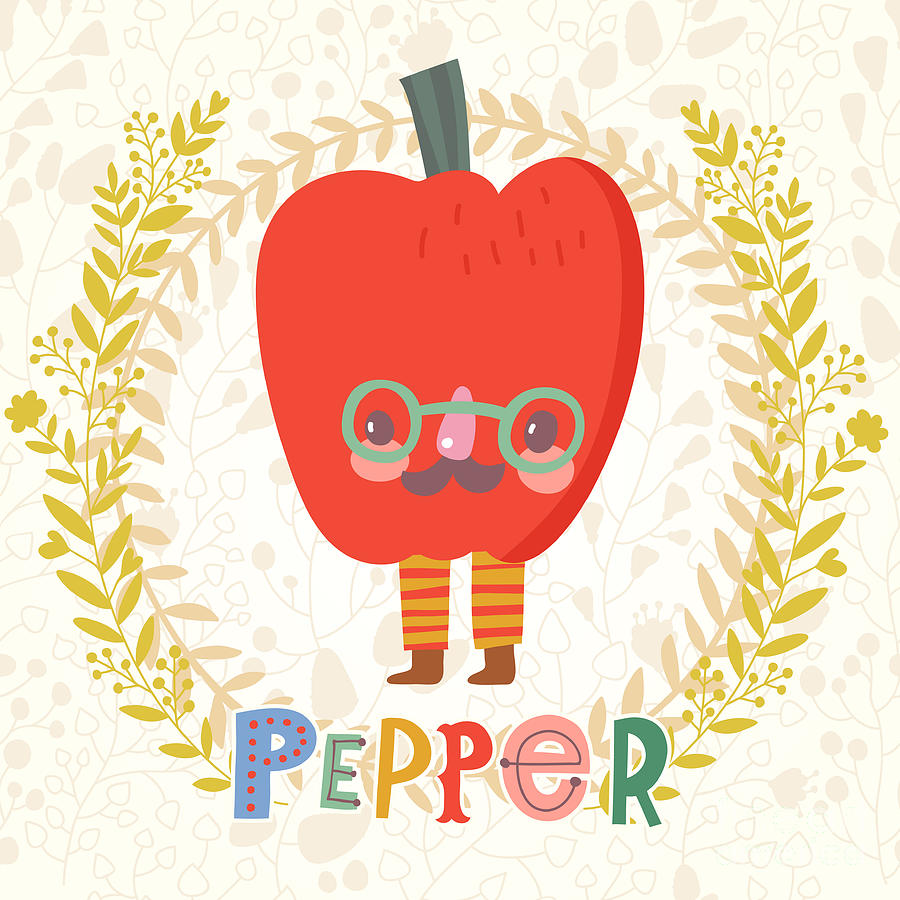 Salad Digital Art - Sweet Bell Pepper In Funny Cartoon by Smilewithjul