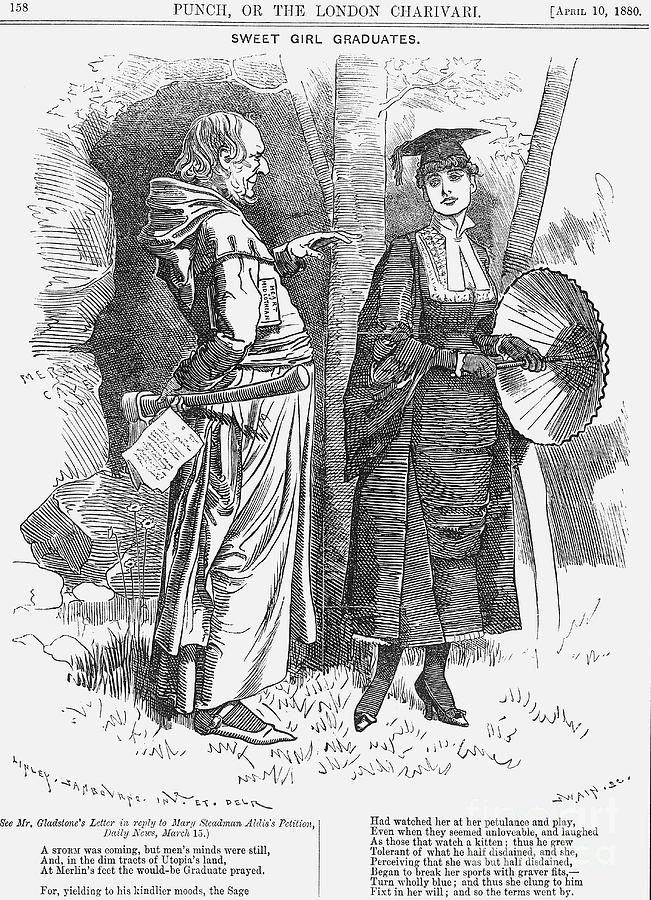 Sweet Girl Graduates, 1880. Artist Drawing by Print Collector