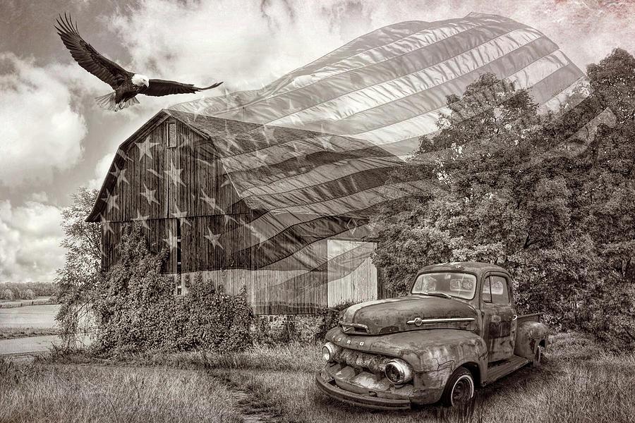 Sweet Land of Liberty in Vintage Sepia Tones by Debra and Dave Vanderlaan