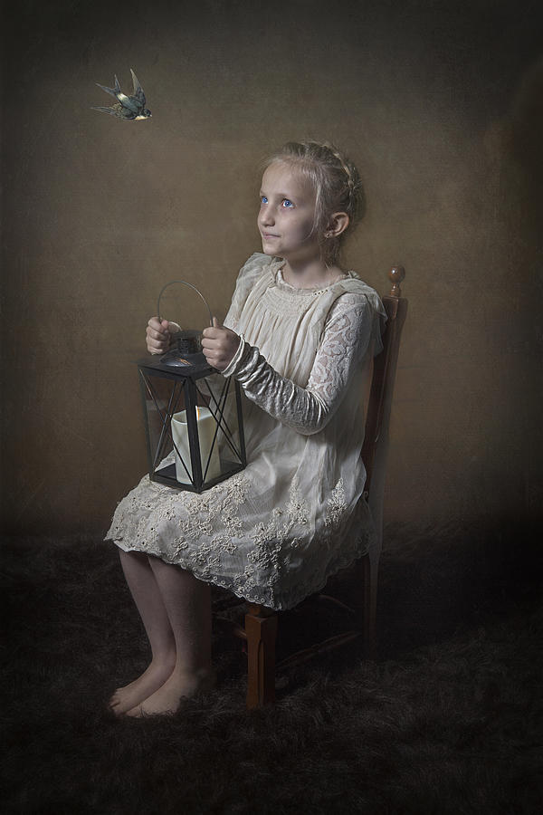 Portrait Photograph - Sweet Little Girl by Carola Kayen-mouthaan
