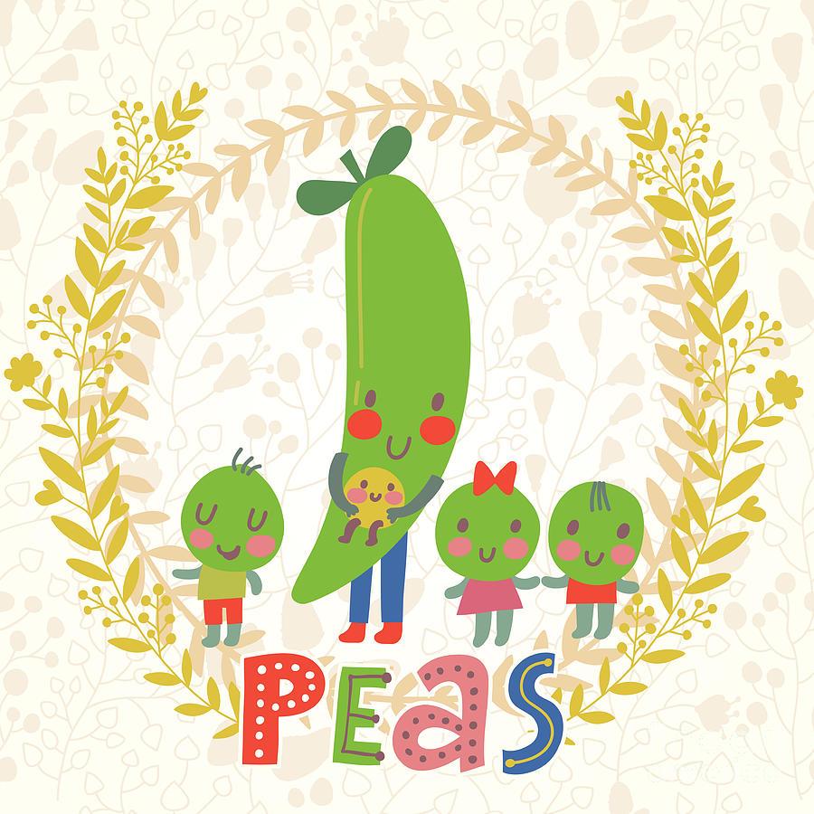 Salad Digital Art - Sweet Peas In Cute Cartoon Style by Smilewithjul