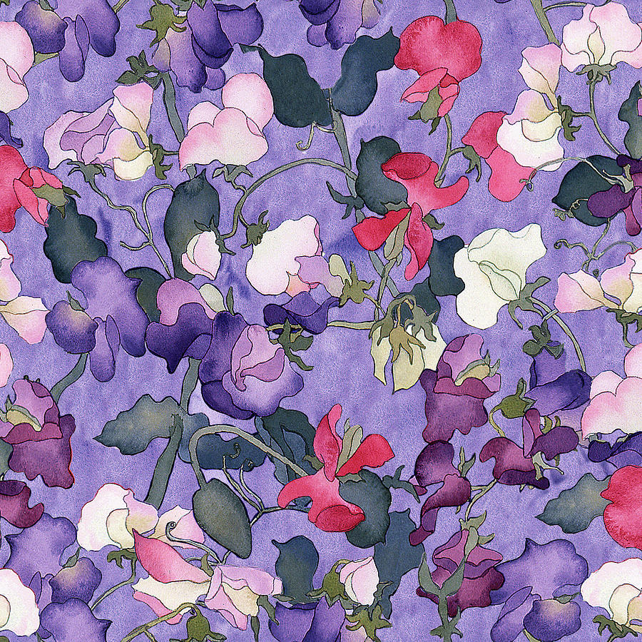 Repeat Painting - Sweet Peas Pattern-light by Carissa Luminess