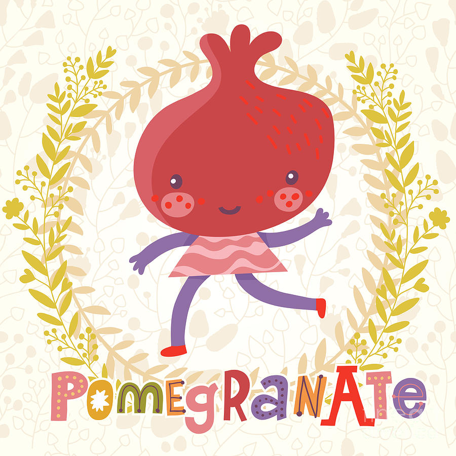 Salad Digital Art - Sweet Pomegranate In Funny Cartoon by Smilewithjul