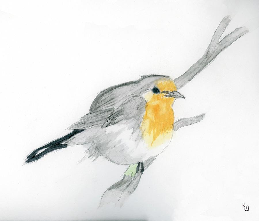 Watercolor Painting - Sweet Robin by Keaton Nelson