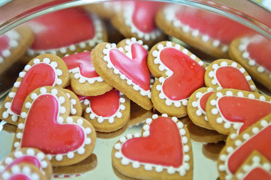 Sweet Valentine Cookies In A Tin Photograph by Mieke Dalle