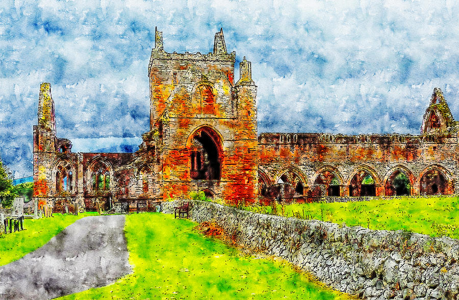 Sweetheart Abbey watercolor drawing by Hasan Ahmed