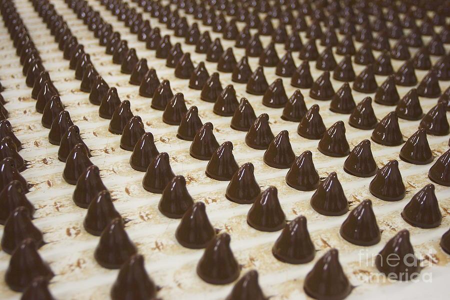 Conveyor Photograph - Sweets On A Chocolate Factory Conveyor by Photowind