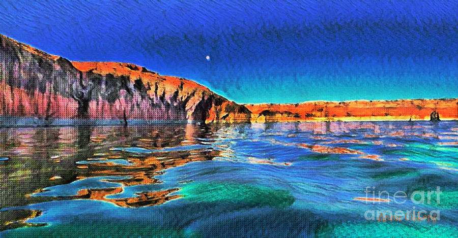 Utah Digital Art - Swells And Reflections Lake Powell by Annie Gibbons