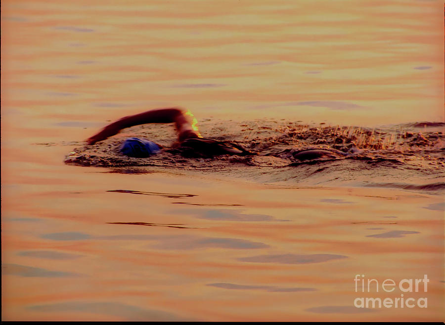 Swimmer 1 Chicago Triathlon swimmer at sunrise Lake Michigan  by Tom Jelen