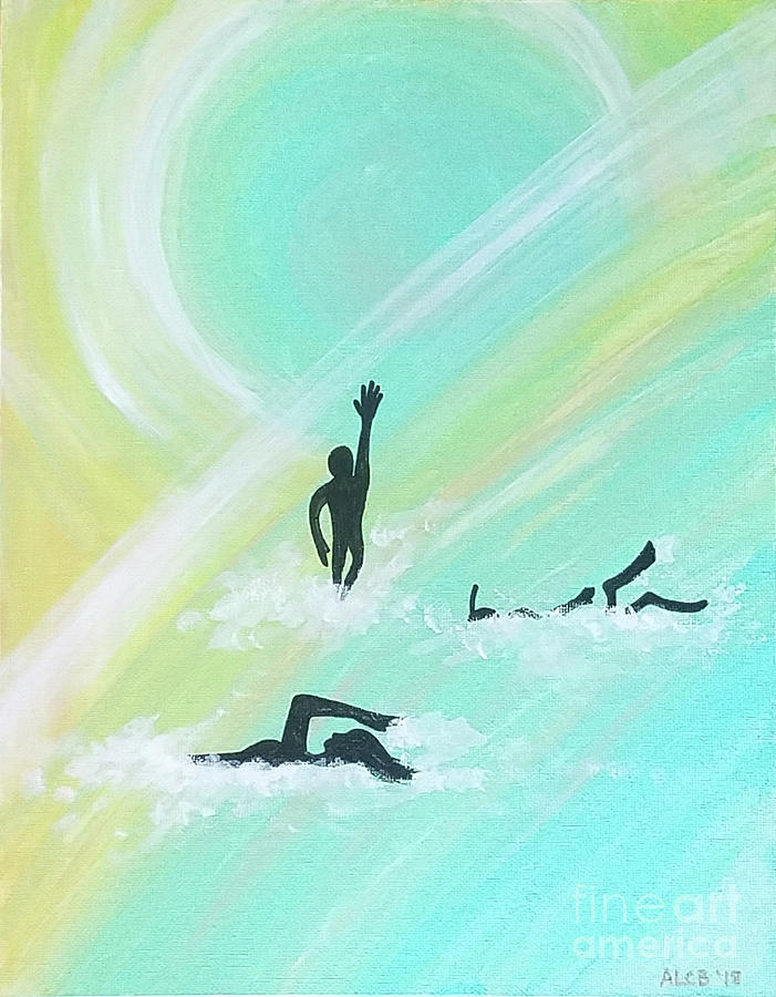 Swimmer Mixed Media - Swimmers by Amy Lee Coy