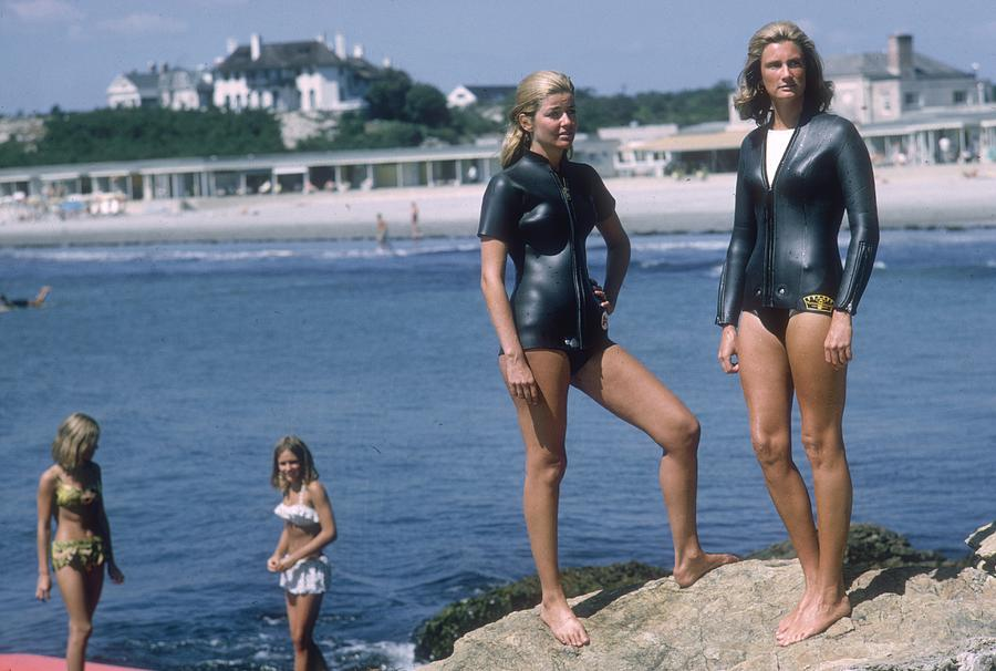Swimmers At Newport Photograph by Slim Aarons