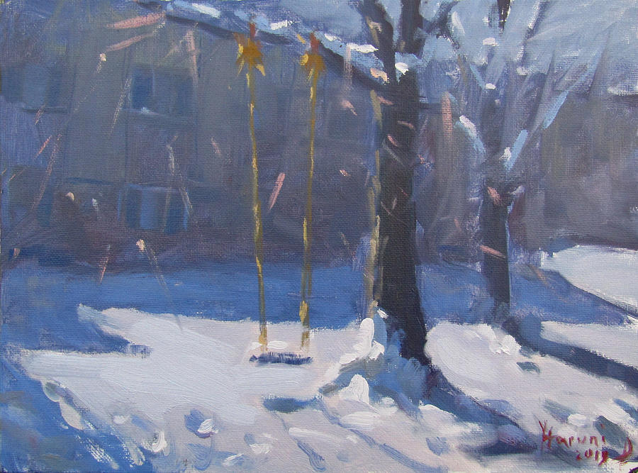 Swing Painting - Swing and Snow by Ylli Haruni