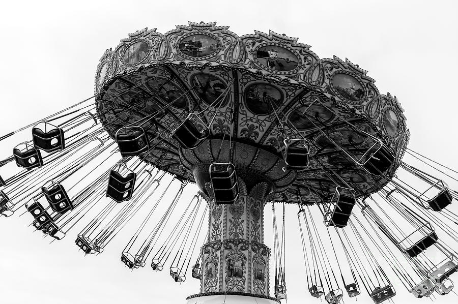 Swing Ride Photograph - Swinging At Seaside Heights Monochrome by John Rizzuto