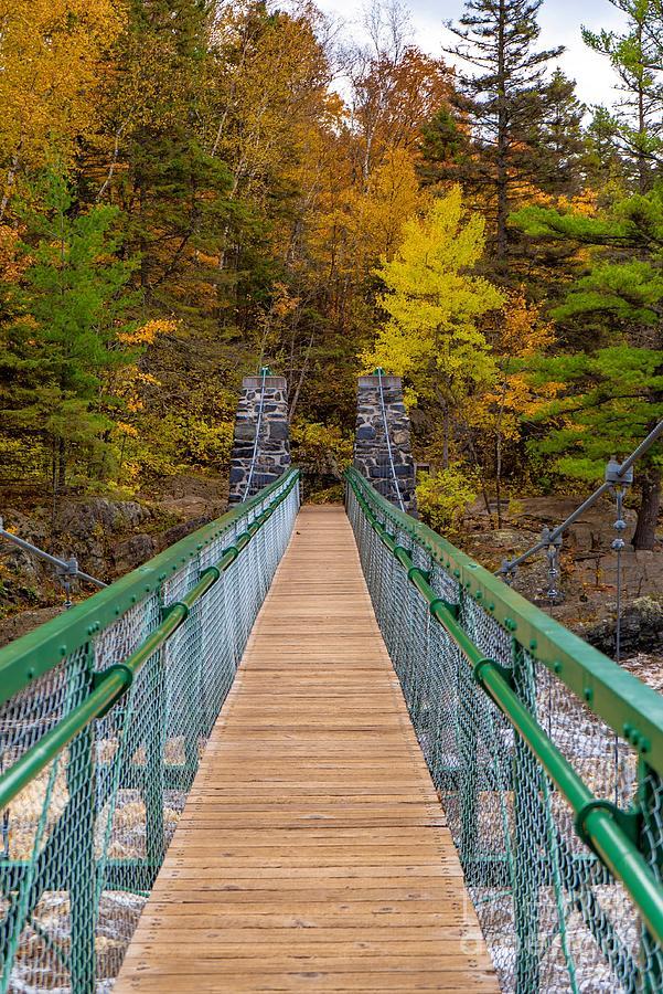 Swinging Bridge in Autumn by Susan Rydberg