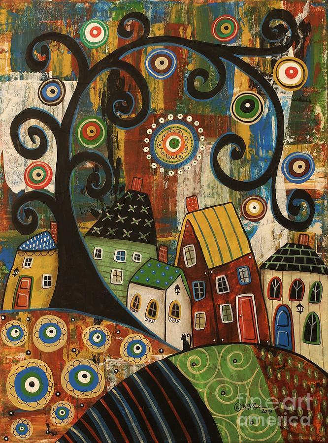 Swirl Tree Painting - Swirl Tree Landscape by Karla Gerard