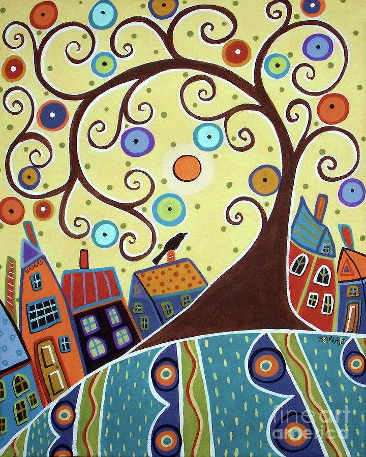 Yellow Sky Painting - Swirl Tree Town by Karla Gerard