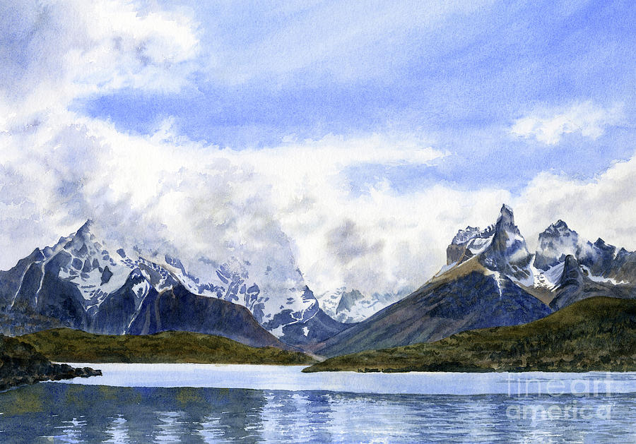 Patagonia Painting - Swirling Clouds Over Torres Del Paine Chile by Sharon Freeman
