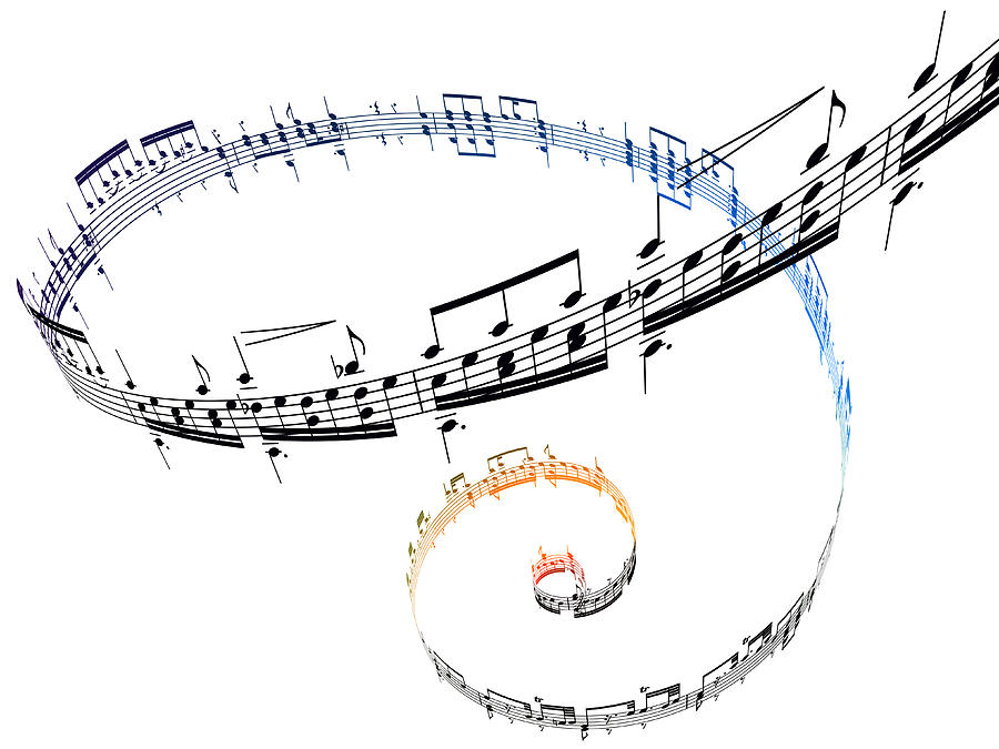 Swirling Musical Notes Against A White Digital Art by Ian Mckinnell