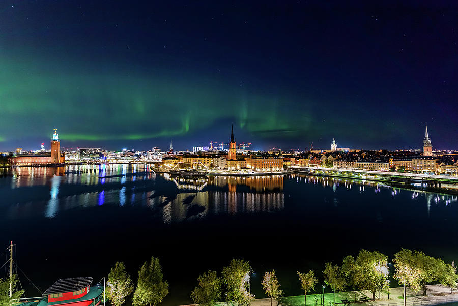 Aurora Borealis Photograph - Swirly Aurora Over Stockholm And Gamla Stan by Dejan Kostic