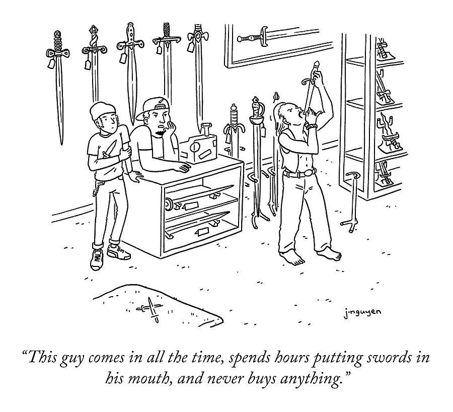 Sword Swallowing Shopper Drawing by Jeremy Nguyen