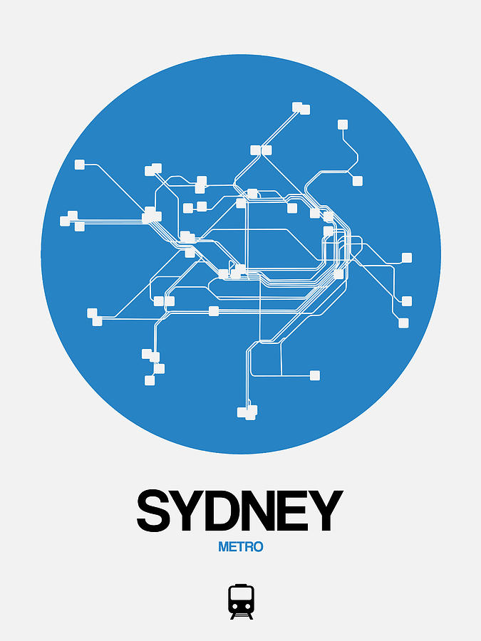 Sydney Digital Art - Sydney Blue Subway Map by Naxart Studio