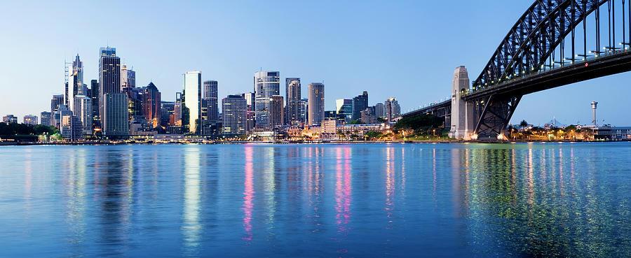 Sydney City Downtown Skyline At Night Photograph by Deejpilot