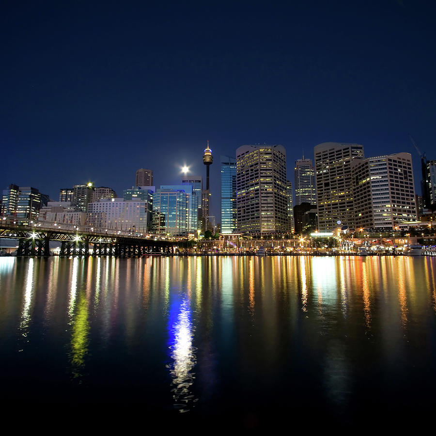 Sydney Darling Harbour Twilight Photograph by Matejay