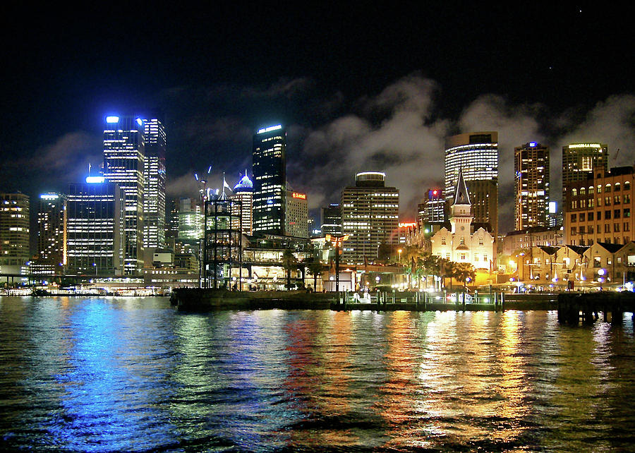 Sydney Harbour At Night - Circular Quay Photograph by Gregory Adams