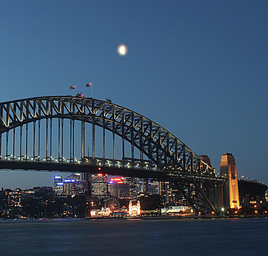 Sydney Harbour Bridge And Moon Photograph by Steve Stringer Photography