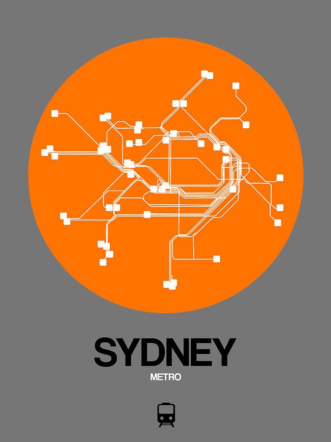 Sydney Digital Art - Sydney Orange Subway Map by Naxart Studio